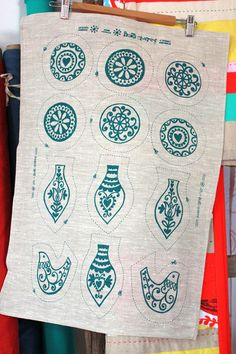 Follow the pattern embroidery ornaments. From my favorite Prints Charming.