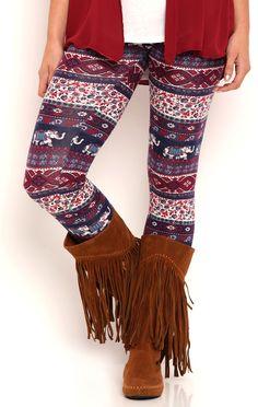 Deb Shops Paisley Floral Stripe Print Leggings $12.00