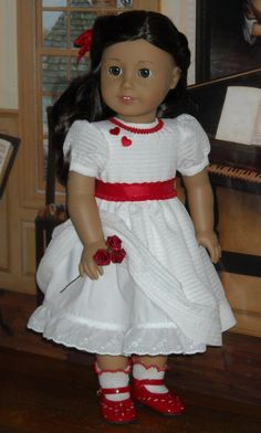 Classic Winter White Valentine's Dress for 18 inch dolls like Ruthie. Sugarloaf Doll Clothes