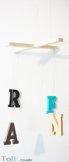 Hanging Wood letters Mobile by ToBicouple on Etsy