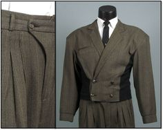 Vintage Mens Suit 1980s NEW WAVE Rocker Brown and by jauntyrooster, $175.00