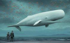 flying albino Sperm Whale art