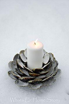 DIY Clam Shell candle holder, beach decor