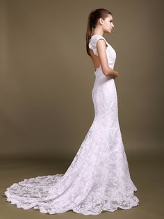 Scalloped Lace Cut Out Mermaid #Wedding#Dress
