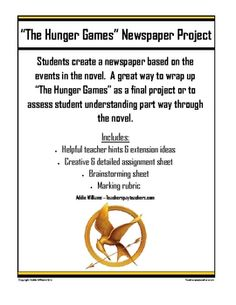 "Fun and engaging newspaper project for ""The Hunger Games"""