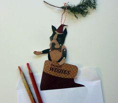 Printable PDF Boston Terrier Christmas Card by ArtistInLALALand, $4.00