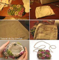 en-rHed-ando: Como hacer un Bolso con Tela y Flores de Crochet