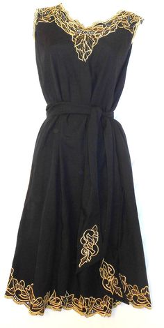 Vintage 80s BALI sheer crochet lace cutwork black and gold dress