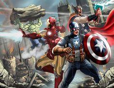 AVENGERS by *earache-J fan art, comic, captain america, fans, marvel superhero, hulk, aveng artwork, earachej superherosvillan, the avengers