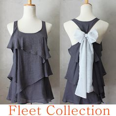 ASHEN AURA - Sleeveless Dark Grey Blouse with Light Gray Contrast Chiffon Bow Accent & Tiered Flounce Detail S, M, L. $42.00, via Etsy.