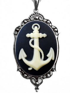 """Nautical Anchor"" Cameo Necklace by Couture by Lolita (Black) #InkedShop #anchor #cameo #nautical #style #fashion #pendant #jewelry #necklace"