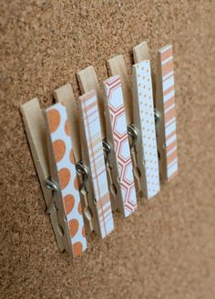 Scrap booking paper on the front, glue a pushpin on the back. hang things on a bulletin board without having to poke a hole in them. (i would put magnets on the back...maybe) craft, scrapbooks, cork boards, bulletin boards, scrapbook paper, papers, student work, magnet, clothespins