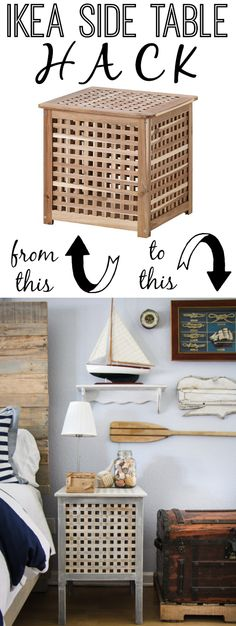 IKEA Hack using Hol Side Tables in a Rustic Nautical Master Bedroom Makeover via thinkingcloset.com.