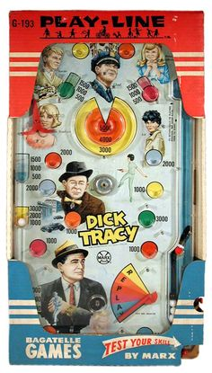 1967 Marx, Playline Dick Tracy Bagatelle, Rare (Factory Sample)