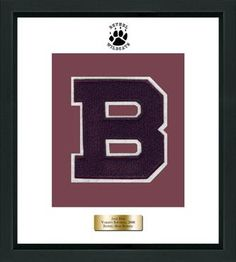 Bethel High School in Connecticut Varsity Letter Frame - Showcase your varsity letter in our Omega solid hardwood shadowbox frame in black satin finish with hand embossed Bethel High School logo, on our white and maroon museum quality matting. A personalized engraved plate is included.