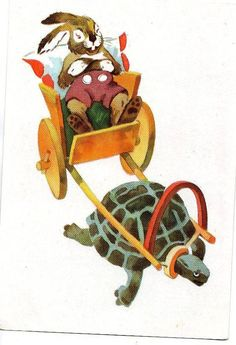 Russian postcard  hare and the tortoise by sharonfostervintage, $5.00