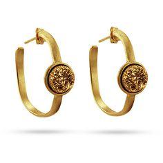 Gold Vermeil Hoop Golden Drusy Earrings $59