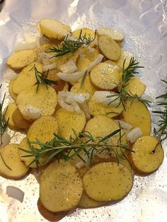 Foiled grilled potatoes with rosemary