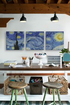 The Starry Night by Van Gogh (Panoramic) Canvas Print - Set of 3