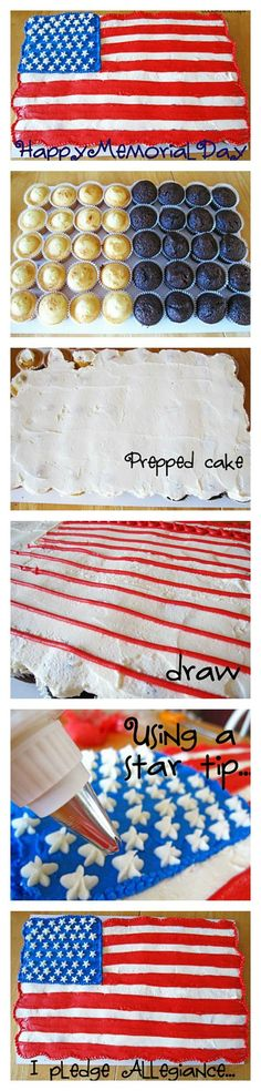 How to make a simple Flag Cupcake Cake! Perfect for parties and BBQs!