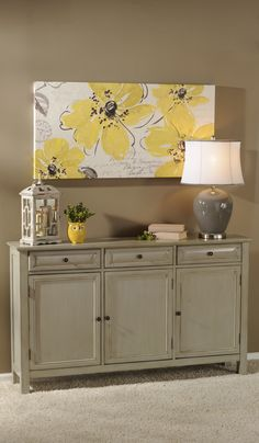 gray on green/greige with a hit of yellow  - painted furniture