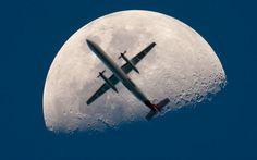 Airplane Crosses the Moon.