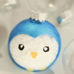 holiday, craft, painted ornaments, diy ornaments, owl, penguin, glass ornaments, christmas ornaments, diy christmas tree