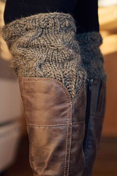 "Ravelry: ""Boot Candy"" Cable knit boot cuffs in gray wool."