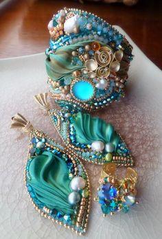 craft, shibori ribbon jewelry, bead ribbon, earring