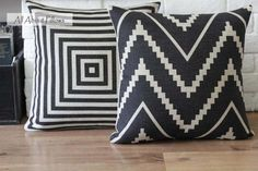 black white geometric linen pillow cover - eco friendly decorative throw pillow cover.  via Etsy.