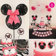 Minnie Mouse party for Lillian! Note to self: Use large hula hoop and two mini hula hoops for Minnie silhouette. Spray paint black and use black yarn for inner part of rings as seen in photo. Add a bow and it's fabulous.