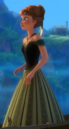 Anna, from the new disney movie, Frozen. If she is dirty blonde I am gonna be sooooooo happy! She looks kind of brunette in this picture but the other ones look kind of blonde so idk! disney movies, disney christmas, disney princesses, green dress, ball dresses, frozen movie, disney music, disney dresses, disney frozen