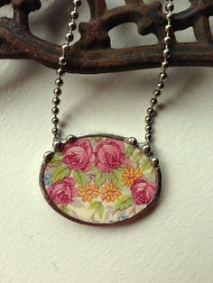 Broken china jewelry necklace antique cabbage roses made from broken antique china