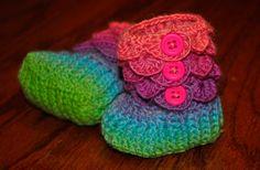 Crochet Crocodile Stitch Baby Booties / Boots