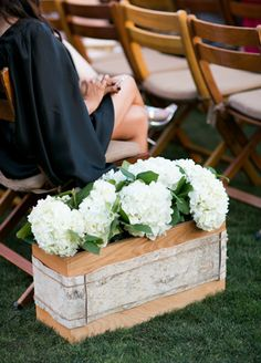 aisle planters & hydrangeas bell photograph, aisl flower, white flowers, ceremoni aisl, belle, hydrangea, wine boxes, aisle flowers, flower display