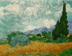 A Wheat Field with Cypresses by Vincent Van Gogh, 1889. Oil on canvas