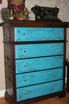 Refinished 5 Drawer Dresser Stained with painted drawers applique and glass/ bronze knobs on Etsy, $695.00