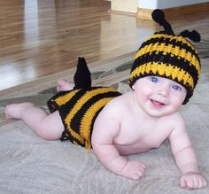 Bumblebee Hat and Diaper Cover Newborn to 6 by simplyyarn27, $25.00