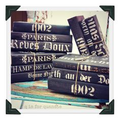 Painted books….these are so fun!  Paint books black and stencil with light gray.  Bundle with twine or a ribbon.  Love these!