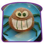 lunch idea, funni lunch, kid food, funki lunch, spider sandwich, crab
