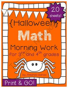 Halloween Morning Work: Math Sheets for 3rd & 4th Grades PRINT & GO from Sweet and Neat Printables on TeachersNotebook.com -  (40 pages)  - Start your students' morning off right with these Halloween themed Morning Work math sheets!   These 20 sheets are PRINT & GO ready!