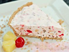 Hawaiian Millionaire Pie: yields 2 pies 2 Graham Cracker Crusts, 1 8oz pckg cream cheese, softened, 1 Lg Cool Whip, 1 Lg  Crushed Pineapple, drained, 1 8 oz jar Maraschino Cherries (chopped & drained) 1 Can Sweetened Condensed Milk, 1/2 Cup Chopped Pecans, 1/4 Cup Lemon Juice.  Blend together the cream cheese, lemon juice and condensed milk; fold in whipped topping. Stir in crushed pineapple, cherries and pecans; pour into pie crusts and refrigerate 3 - 4 hrs.