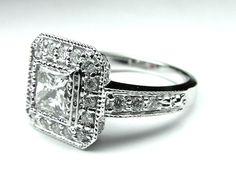 Vintage Style Pave Princess Cut Diamond Engagement Ring