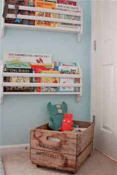 shelving cardboard books, crate for toys