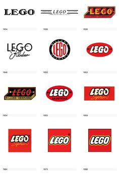 Evolution of the Lego Logo.  the 1959(?) one looks like a kitkat bar.