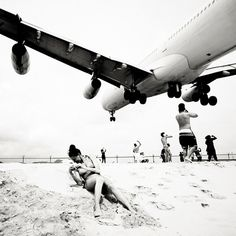People really travel from miles around to be this close to the jets while they are on the beach! air france, airport, josefhoflehn, airplan, josef hoflehn, beach, sint maarten, photographi, jet airlin