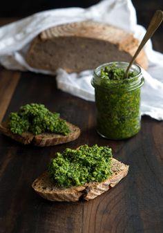 Wild Greens and Sardines: Kale, Garlic Scape, and Pistachio Pesto