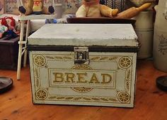 Antique Bread Box with Great Graphics