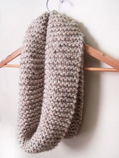 Just made one like this.  Oatmeal Knitted Infinity Scarf