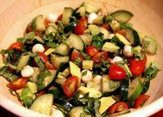 fresh basil, olive oils, food, avocado, cucumber salad, mozzarella, recip, tomatoes, salads